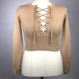 NWT Mocha Lace-Up Knitted Sweater Long Sleeve.
